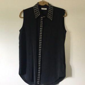 Equipment silk button down sleeveless blouse